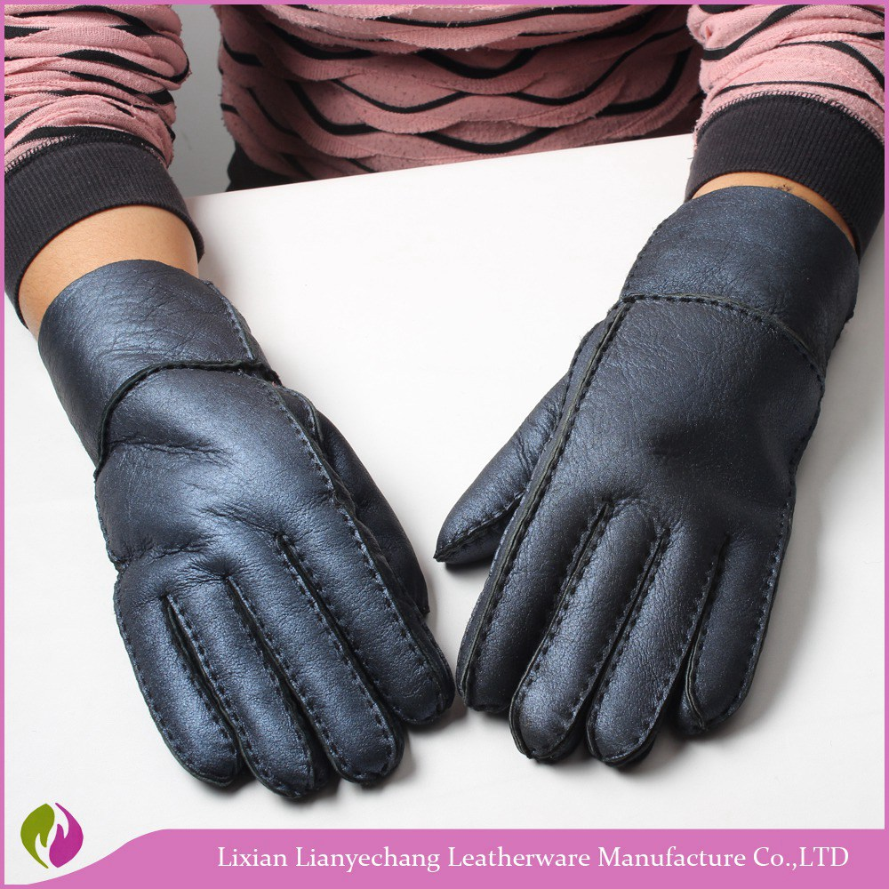 Extreme cold weather blue hand sew classic cheap warm leather men gloves men's dress leather gloves
