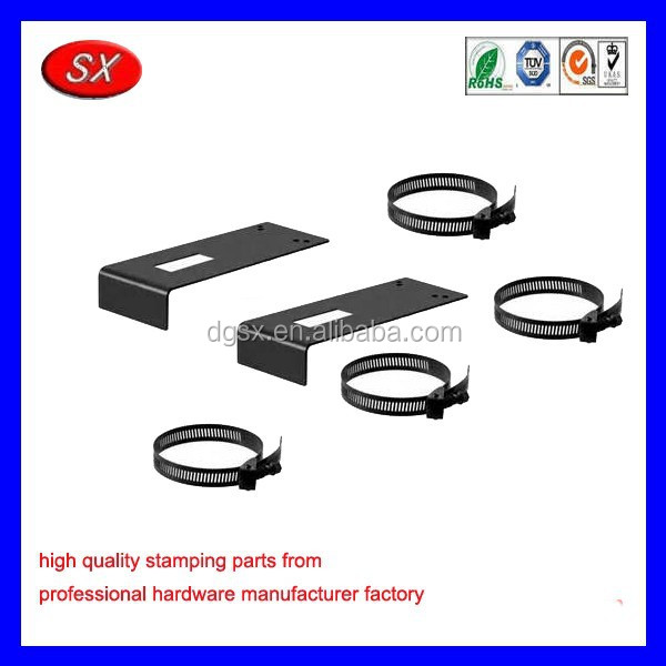 custom manufacturing sheet metal fabrication ,metal corner plate bracket with clamp for pipe connecting parts