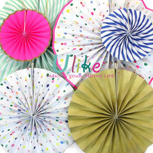 custom folding fans handmade craft Polka Dot Hanging Fans round nylon folding fan