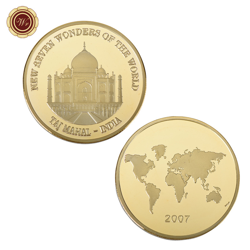 WR New Seven Wonders of the World Series CustomTaj Mahal Gold Plated Coin India Landscape Golden Metal Coin for Collection