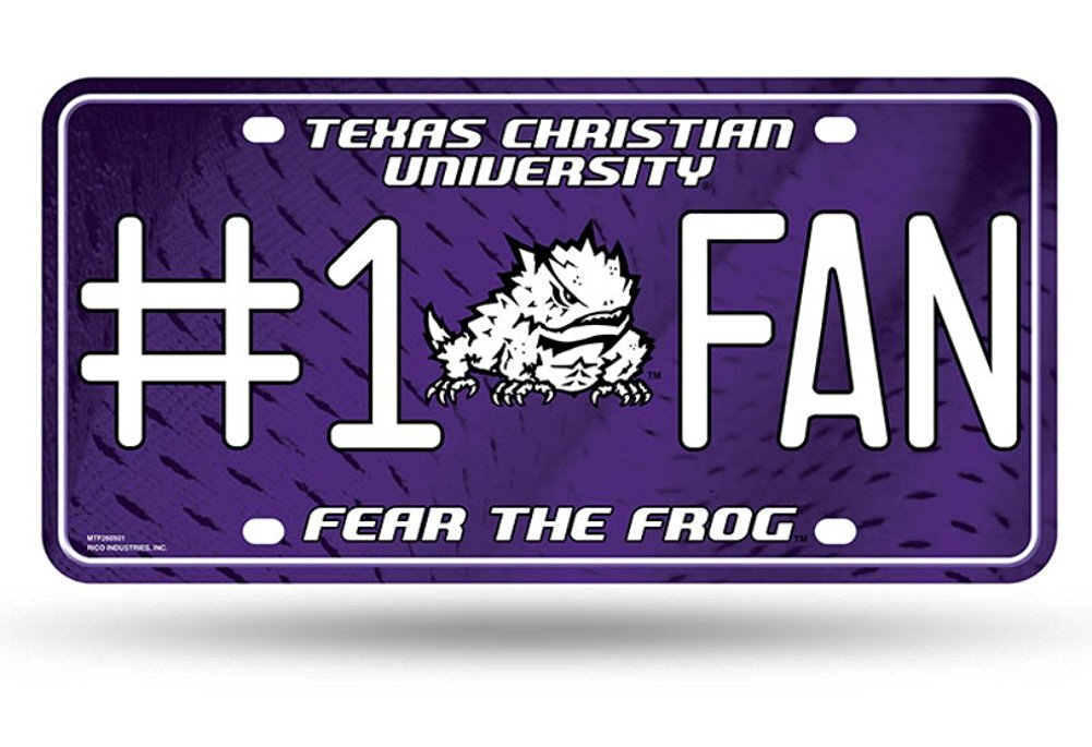 """Licensed NCAA (TCU) Texas Christian University (Fear The Frog) (#1 Fan) Logo Metal Tag, (Proudly Made In The USA), Size: 6"""" x 12"""" Inches"""
