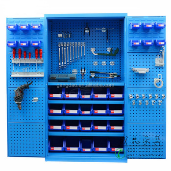 Factory Strong Lockable Heavy Duty Metal Tool Storage Cabinet With Hanging Plastic Bin