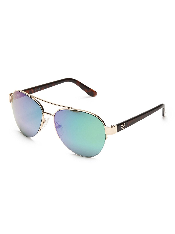 4e93571516a Guess GUF254 GLD 2F Women s Rimless Sunglasses Aviator Gold Aqua