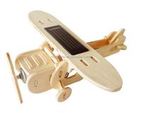 Educational 3D wooden solar toy monoplane