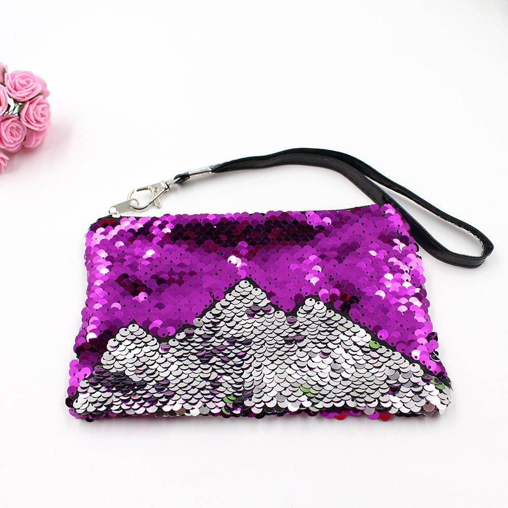 Горячие продажи Русалка косметическая сумка из пайеток мобильный двойной цвета кошельки кошелек с блестками