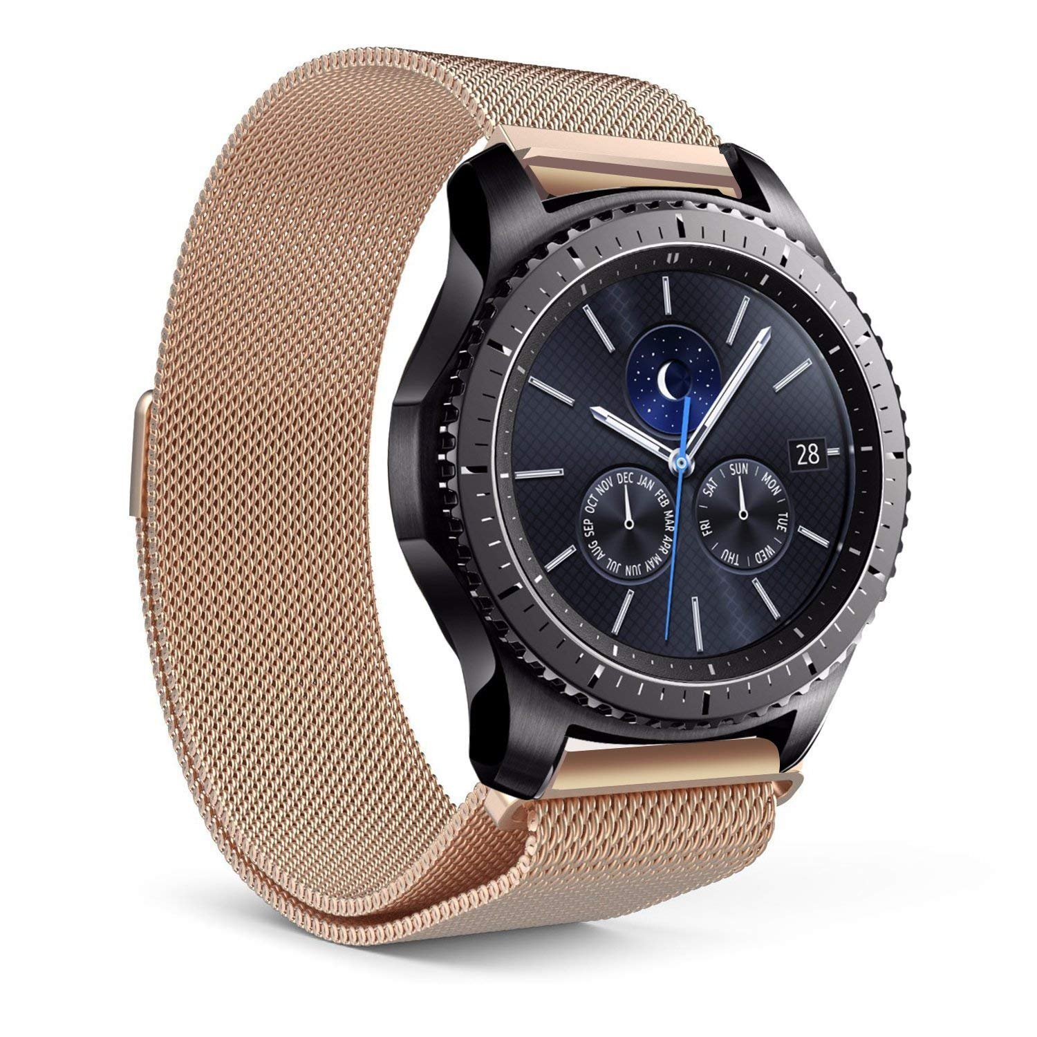 SPGuard for Gear S3 Band/Galaxy Gear S3 Bands,22MM Gear S3 Bands Milanese loop Stainless Steel Strap Wrist Replacement Band for Samsung Gear S3 Frontier/Gear S4 Classic Smart Watch (Rose gold)