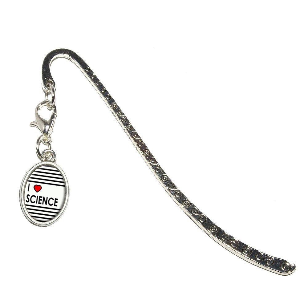 I Love Heart Science Metal Bookmark Page Marker with Oval Charm