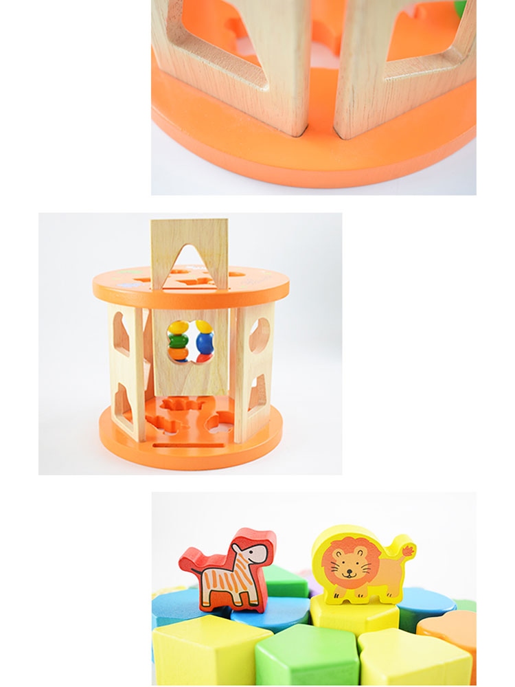 China Wood Geometric Shape Box Round Rolling Cage Shape Sorting Wisdom Wooden Kids Educational Toy