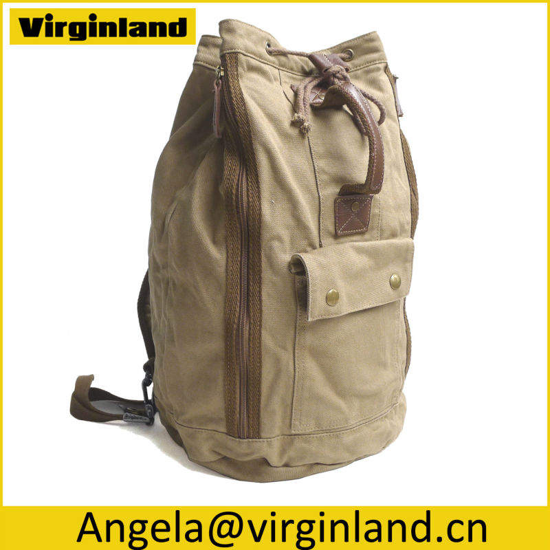 Latest Popular Design Khaki 16oz Washed Ladies Fancy Backpack with Antique Brass Dog Clip Release