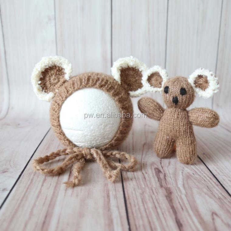 Mohair Crochet Bébé ours bonnet jouet ensembles Tricoté bébé bonnet chapeau  Nouveau-Né ours jouet 955a3e4cd46
