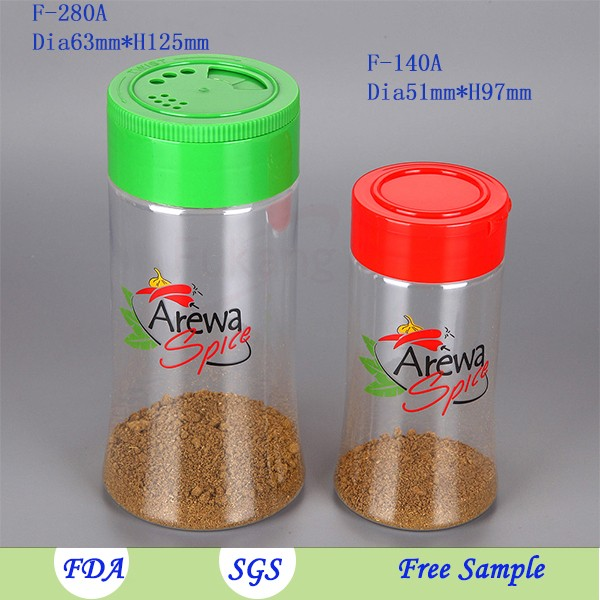 140ml Plastic Shaker Jars Pepper Container Spice Packaging