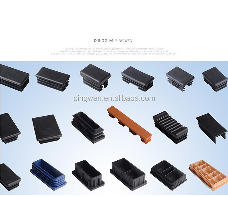 Black PP rectangle steel tube plastic cap plug