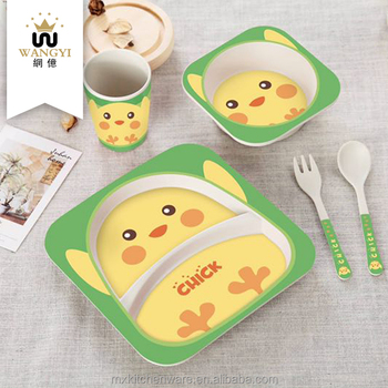 Children animals tableware kids bamboo dinnerware set with plate bowl cup spoon fork & Children Animals Tableware Kids Bamboo Dinnerware Set With Plate ...