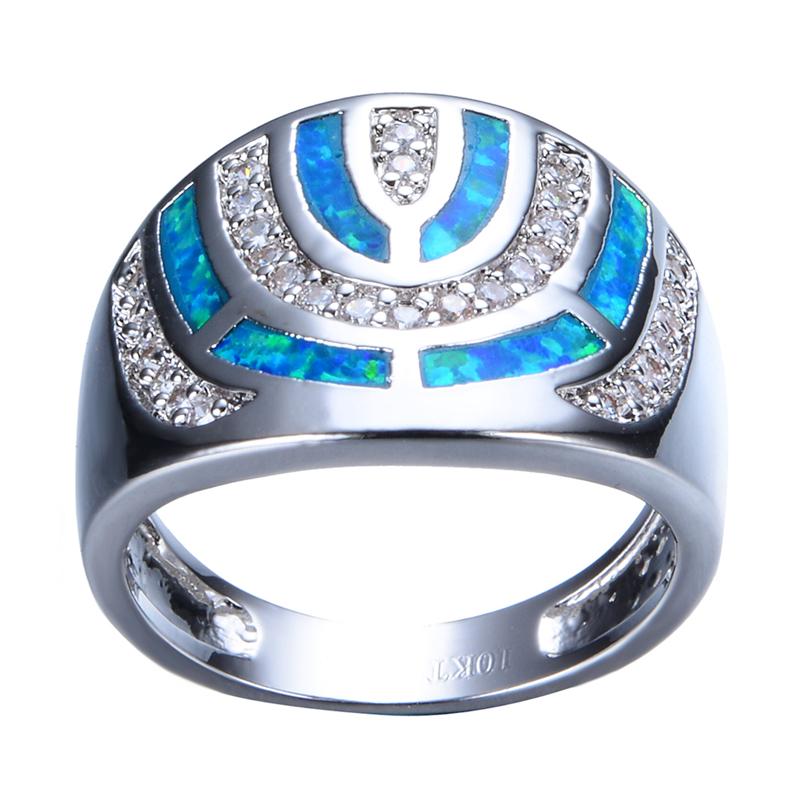 Fashion Geometric Blue Fire Opal Ring White Gold Filled
