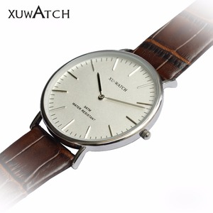 Custom Logo Wrist Quartz Watches Men luxury leather strap with Stainless Steer Watch Case