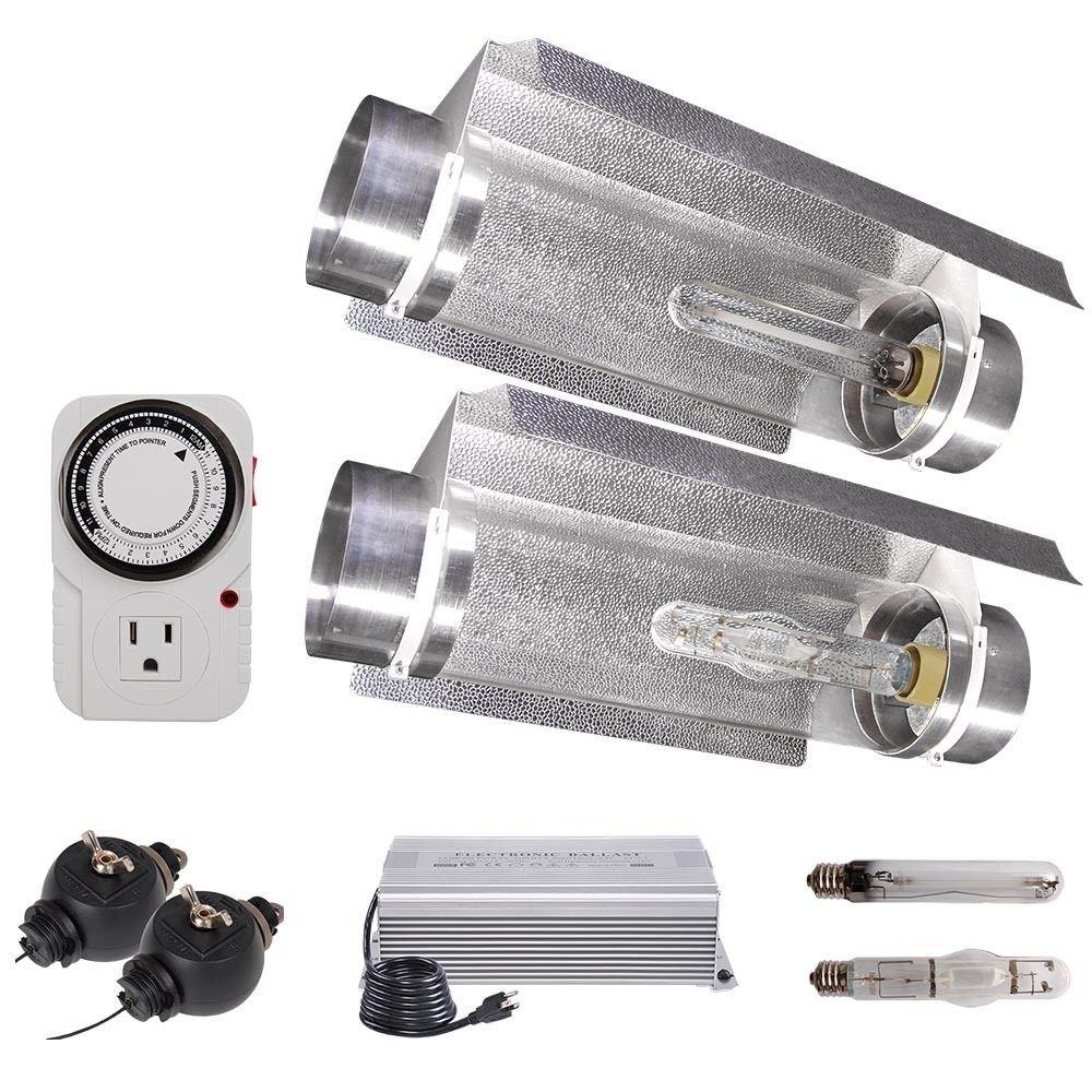 "GHP Hydroponics 8"" Air Cool Tube Reflector Ballast System 600W Grow Light Kit"