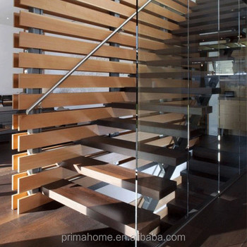 Beau Safety Wood Steps Open Riser Ladders With Handrail Installed For Duplex  Australian House Floating Staircase