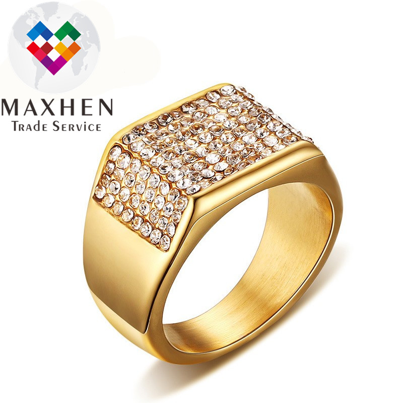 Hot selling 18K Gold plated stainless steel full stones zircons <strong>rings</strong> for man