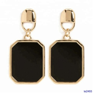 Gold Plated Locket Drop Earring / Wholesale Black Enamel Hoop Earring