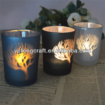 white tree candle holder laser engraving holder for tea light glass