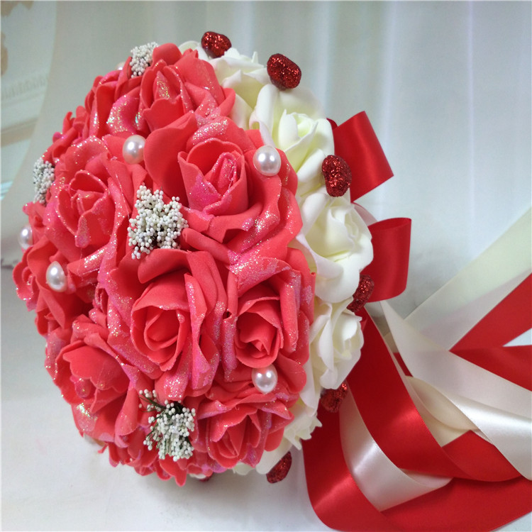 Coral And Pink Wedding Flowers: Cheap Red/Blue/Purple/Pink/Coral Advanced Simulation Rose