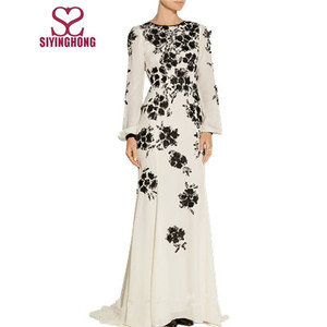 Black and white Applique Silk crepe dress evening party long dress