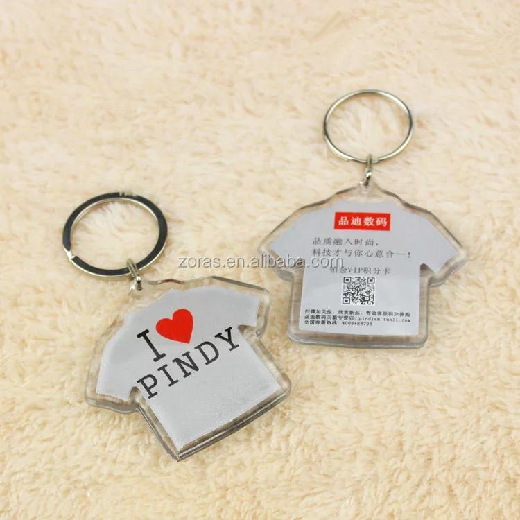 I LOVE NY t shirt shaped clear acrylic keychain with inset photo