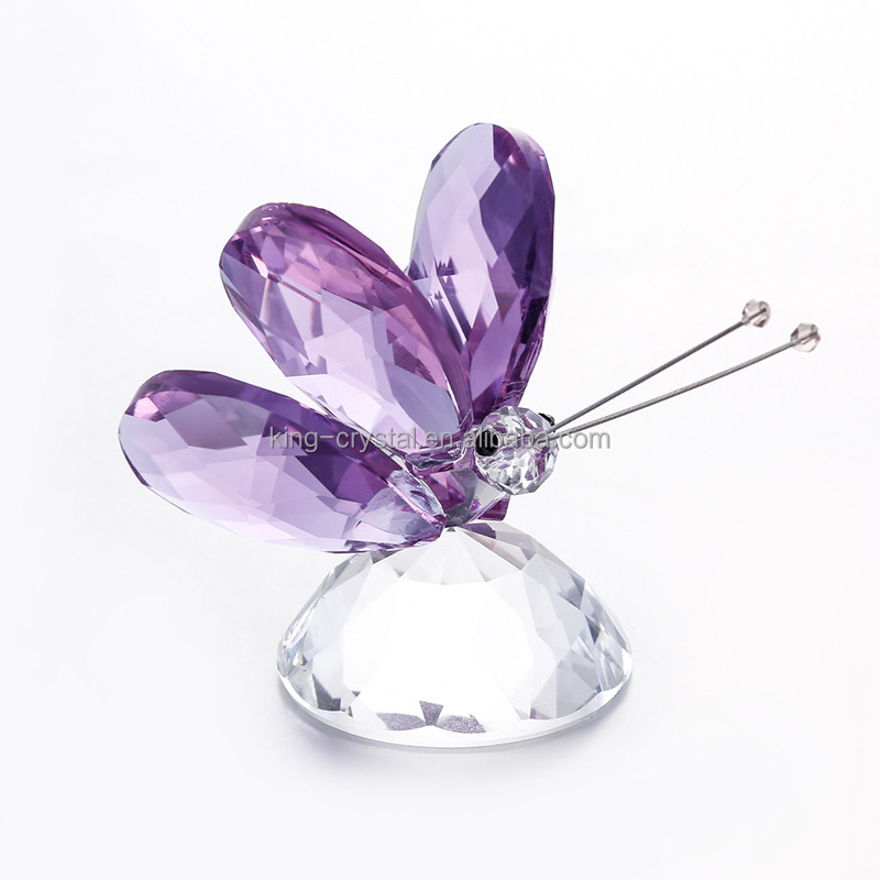 Butterfly Figurine of Hand Blown Glass Amethyst Crystal