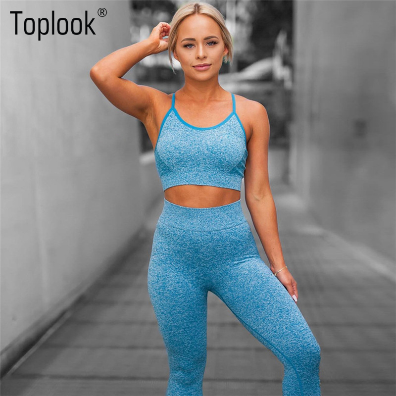 Toplook Fitness Yoga Set Neue Rosa Blau Feste Crop Top + Lange Hosen Athleisure Frauen Fitness Anzug Gym Sport Bh + Legging