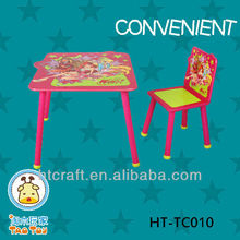 HT-TC010 wood kids table for play with round legs for small kids with colorful design
