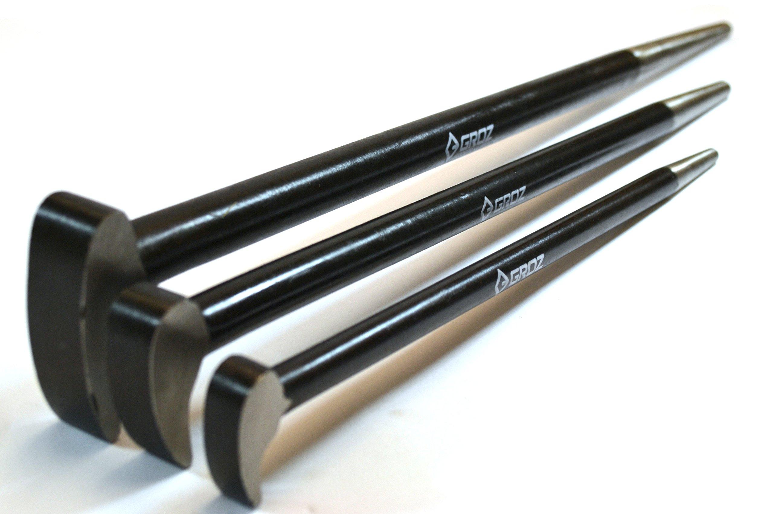 Groz 33155 Industrial Series, Heavy Duty Roll Head Pry Bar Forged Chrome Vanadium Steel (38 - 43 Hrc), 20'' L, 3 Piece