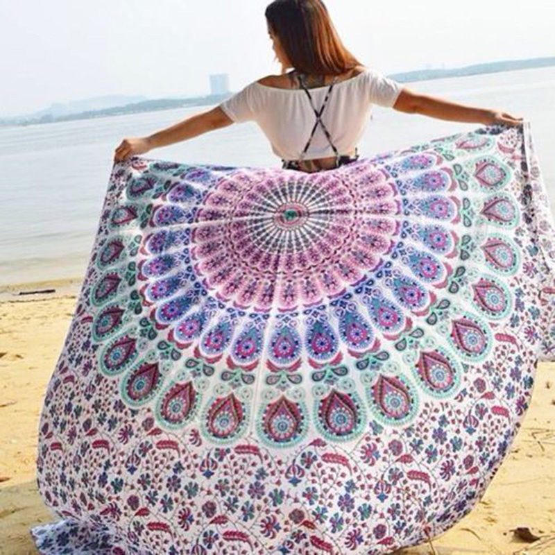 Square Indian Mandala Hippie Wall Hanging Tapestry Bohemian Queen Tapestries Bedspread Beach Towel Yoga Mat Home Decor 210*150cm