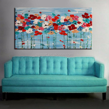 Bright Colors Handmade Unique Living Room Decoration Beautiful Textured Flower Painting On Canvas Modern Knight