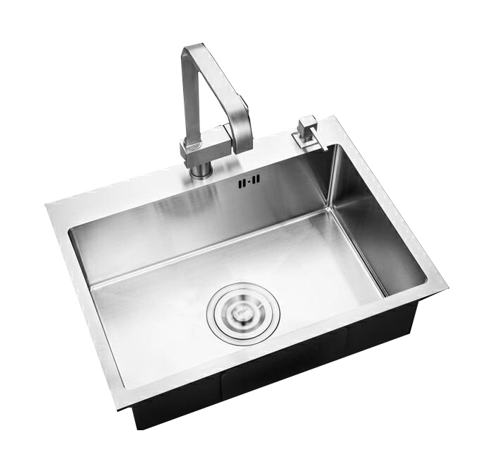 29 In Handmade Single Bowl 18 Ga Stainless Steel Kitchen Sink with drain board