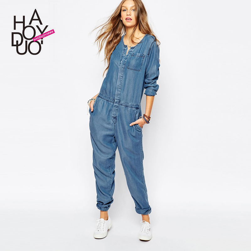 Womens Denim Jumpsuit Fashion Ql