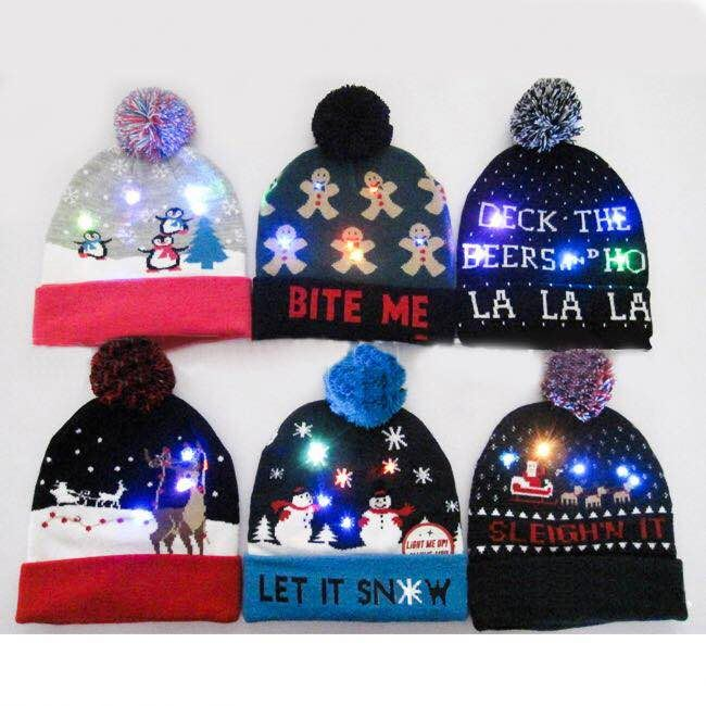 d09f03269432b Light Up Christmas Hat With Pom Pom Led Beanie Hat