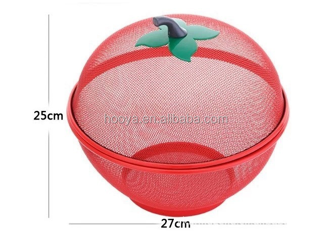 Newest Arrival Supermarket 2pcs Apple Shape Fruit Mesh Basket for Food Storage Box