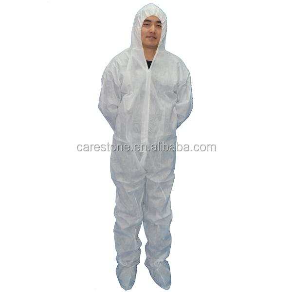 food safety grade disposable non-woven coverall with hood and shoe cover
