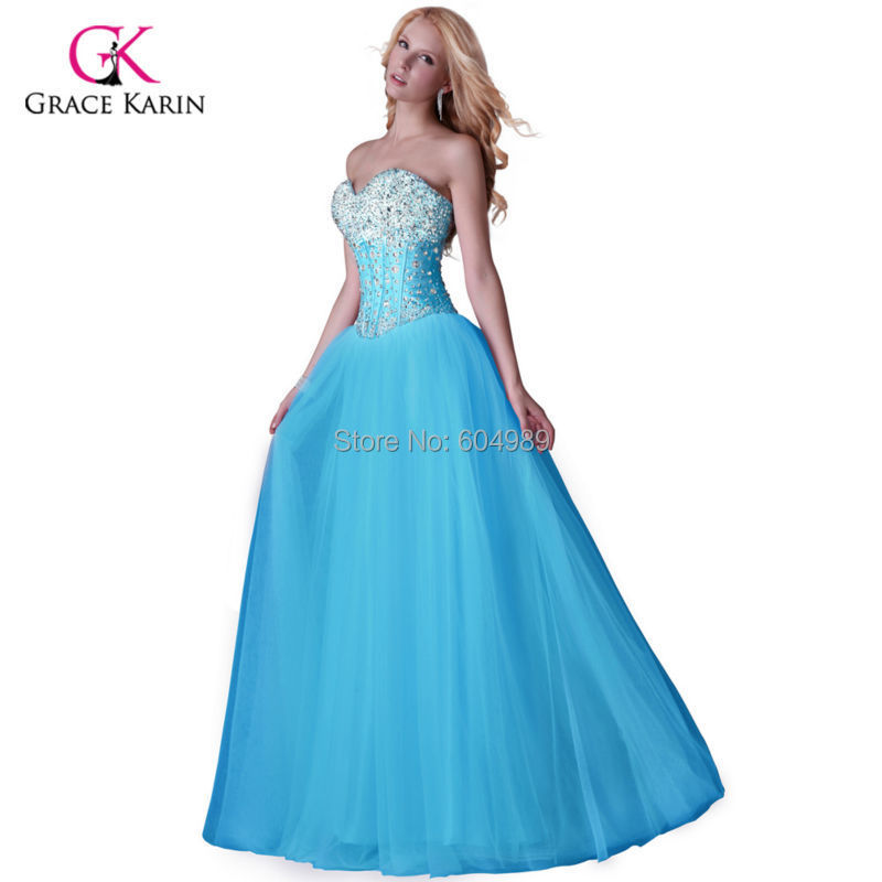 73751a88536d0 Get Quotations · 2015 Grace Karin Beaded White/Blue/Pink Evening Dress Long  Corset-style Prom