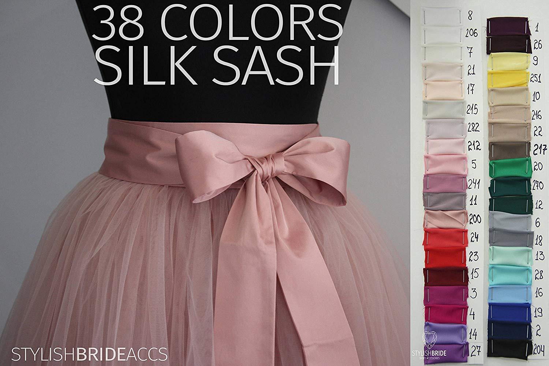 32d617eda Get Quotations · Silk Sash, Silk Satin Bow Tulle Skirt Matching 38 Colors  of Silk Blush Pink Blue