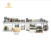 High Quality 304 Stainless Steel Wall Mounted Kitchen Accessaries Storage Rack With Hooks