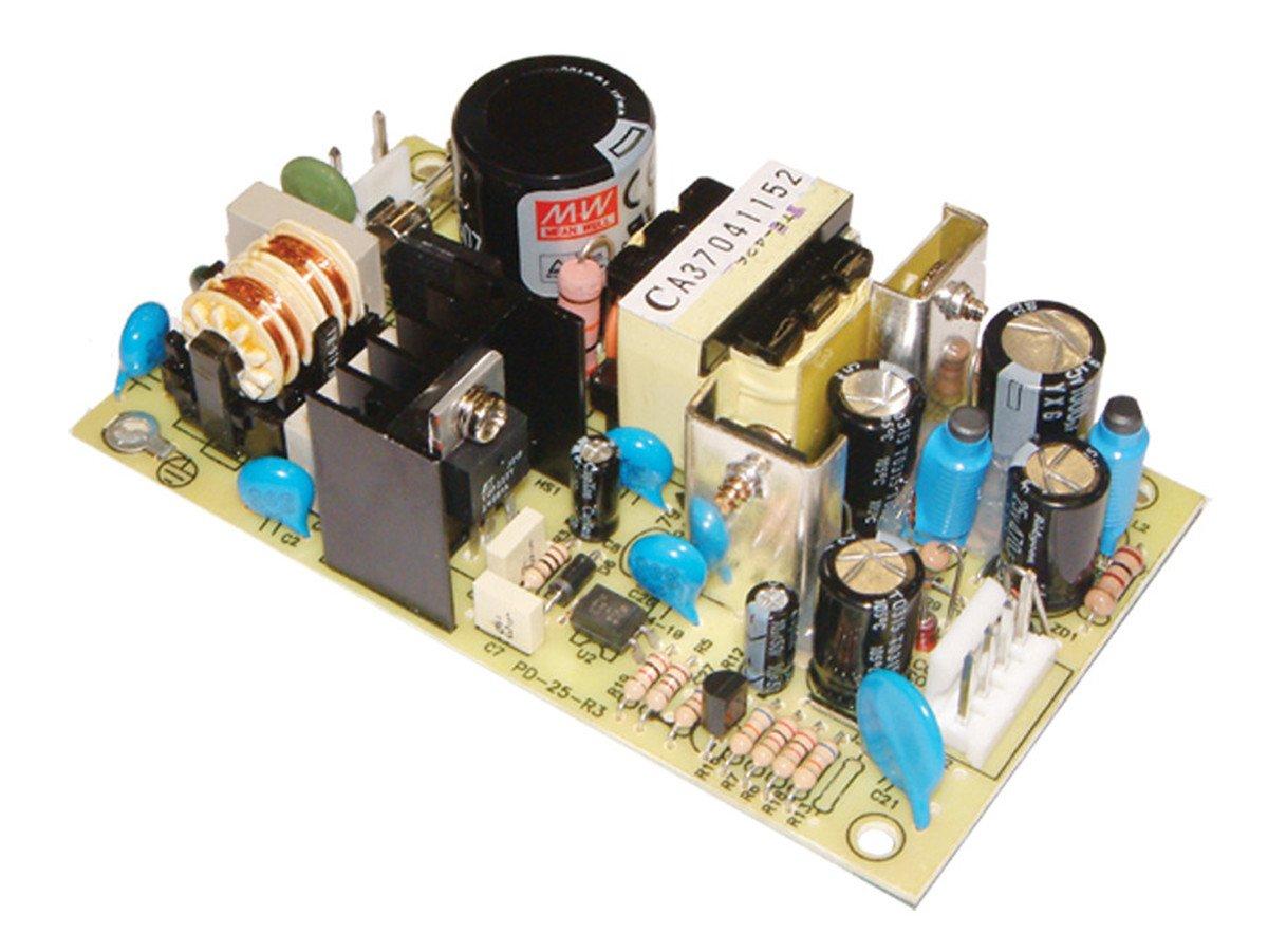 "Mean Well PD-25A AC to DC Power Supply, Open Frame, Dual Output, 5 Volt, 12 Volt, 2.1 Amp, 1.2 Amp, 25 Watt, 4.2"" L x 2.4"" W x 1.1"" H"