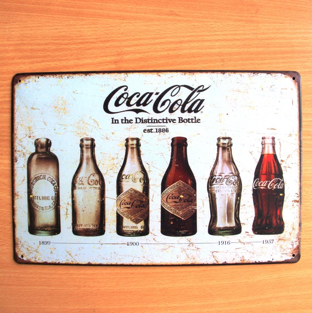 coke bottles vintage home decor poster bar decor retro crafts painting poster vintage placas. Black Bedroom Furniture Sets. Home Design Ideas