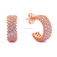 Newest Handmade Wholesale 3Rows CZ Stone Jewelry Rose Gold Plated 925 Sterling Silver Earring