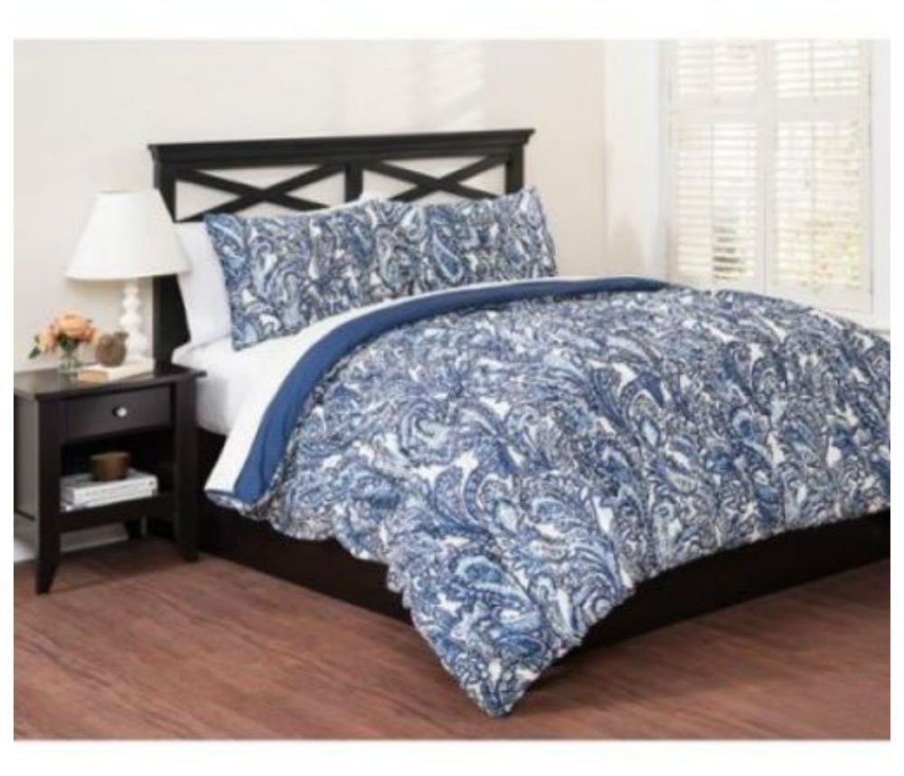 Buy Blue Paisley Comforter Set King Size 3 Piece Bedding With Shams