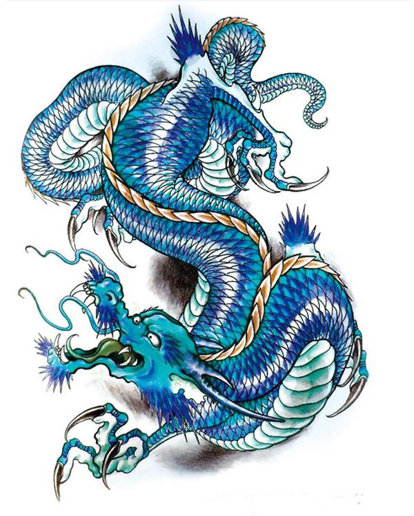 fb2212092a4b8 Get Quotations · Personality Tattoo NEW 3D Large Big Tatoo Sticker Sketch  Blue Chinese Dragon Painting Designs Cool Temporary