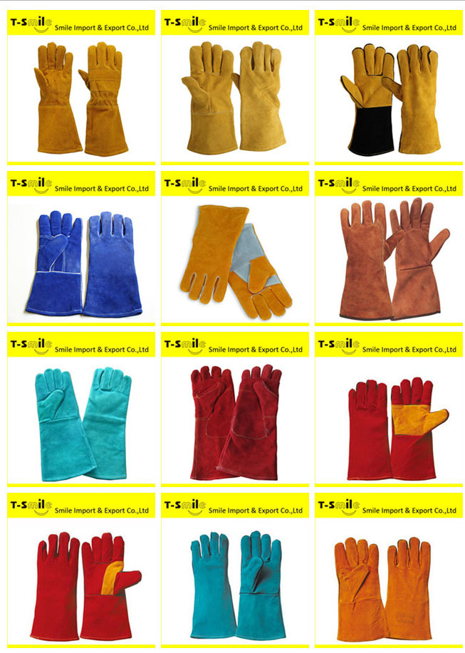 Cheap Long Sleeve Safety Cowhide Welding Gloves Leather Welding ...