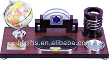2016 new wooden and plastic destktop set business promotion gifts with global and clock watch multi function LOGO BF12002-33