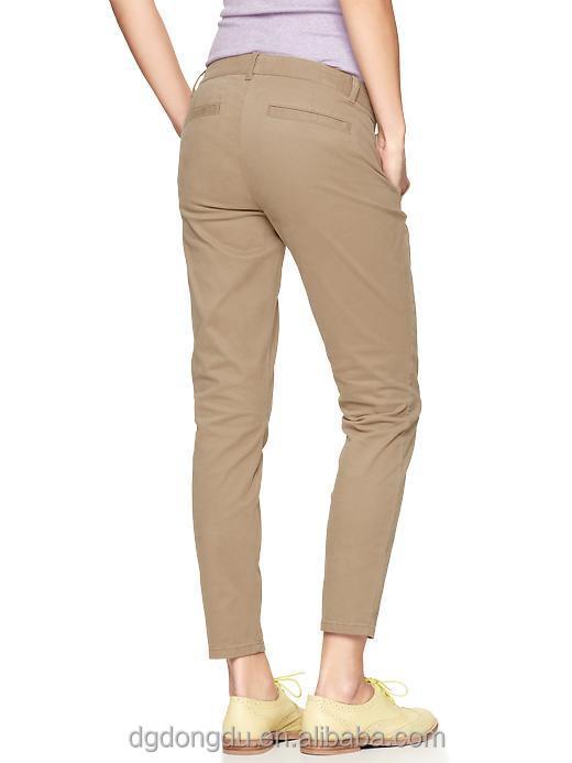 2014 Plain Skinny Mini Skimmer Khaki Chino Pants Women Pants Buy