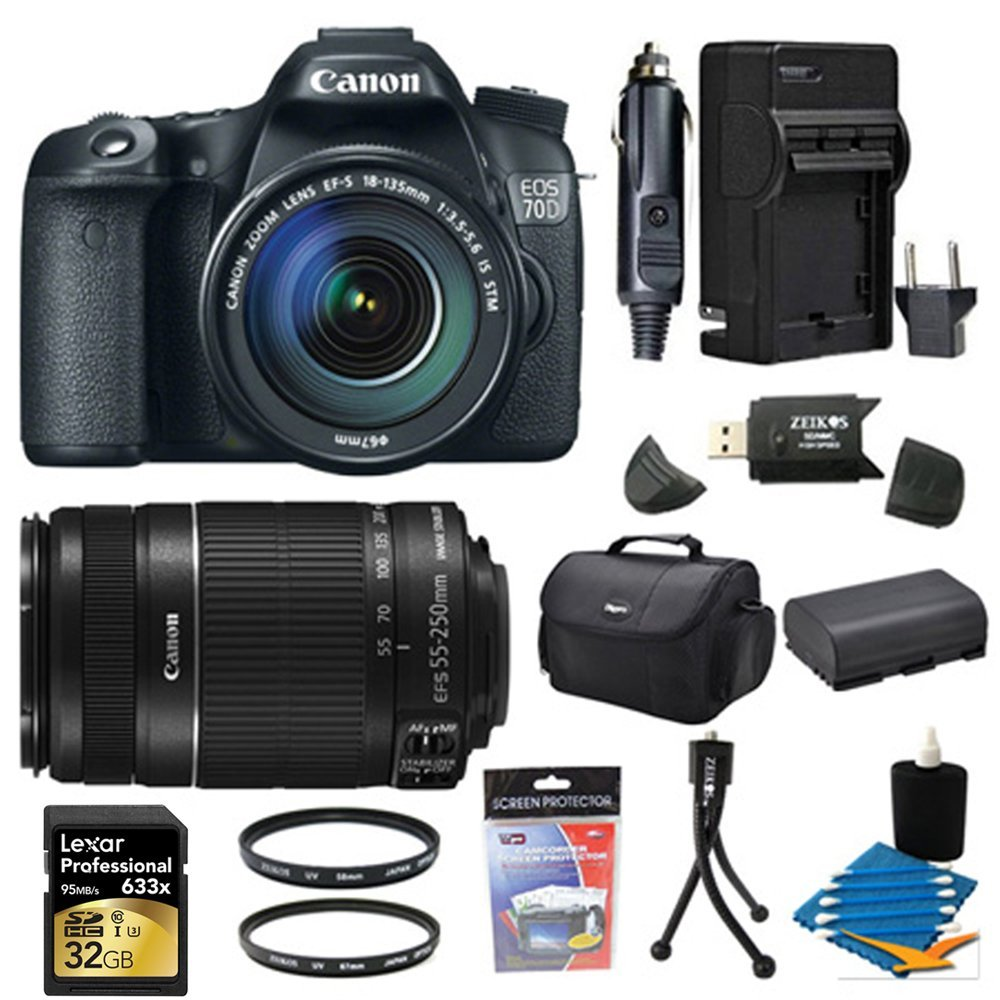 Canon EOS 70D 20.2 MP CMOS Digital SLR Camera and EF-S 18-135mm and 55-250 IS Lens 32GB Bundle - Includes camera, 32GB Professional 633x SDHC Class 10 UHS-I/U3 Memory Card Up to 95 Mb/s, Telephoto Lens, 58mm and 67mm UV Filters, Battery, Battery Charger, Gadget Bag, SD Card Reader, Mini Tripod +